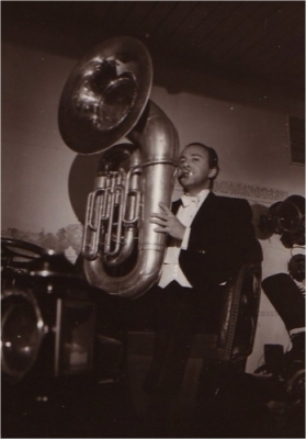 Happy John Arthy, no longer a baker, but a sousaphone player in his  orchestra. (1970)